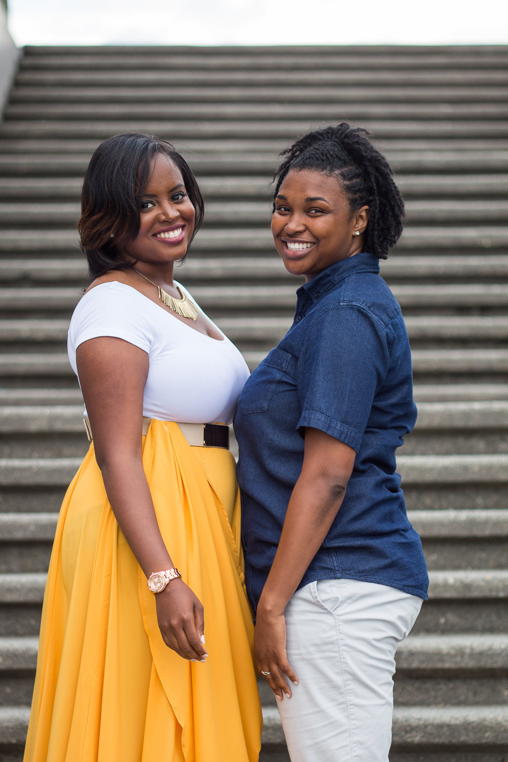 Taymah and Brittany standing together in Gas Works Park, Seattle - Photo by DBK Photography