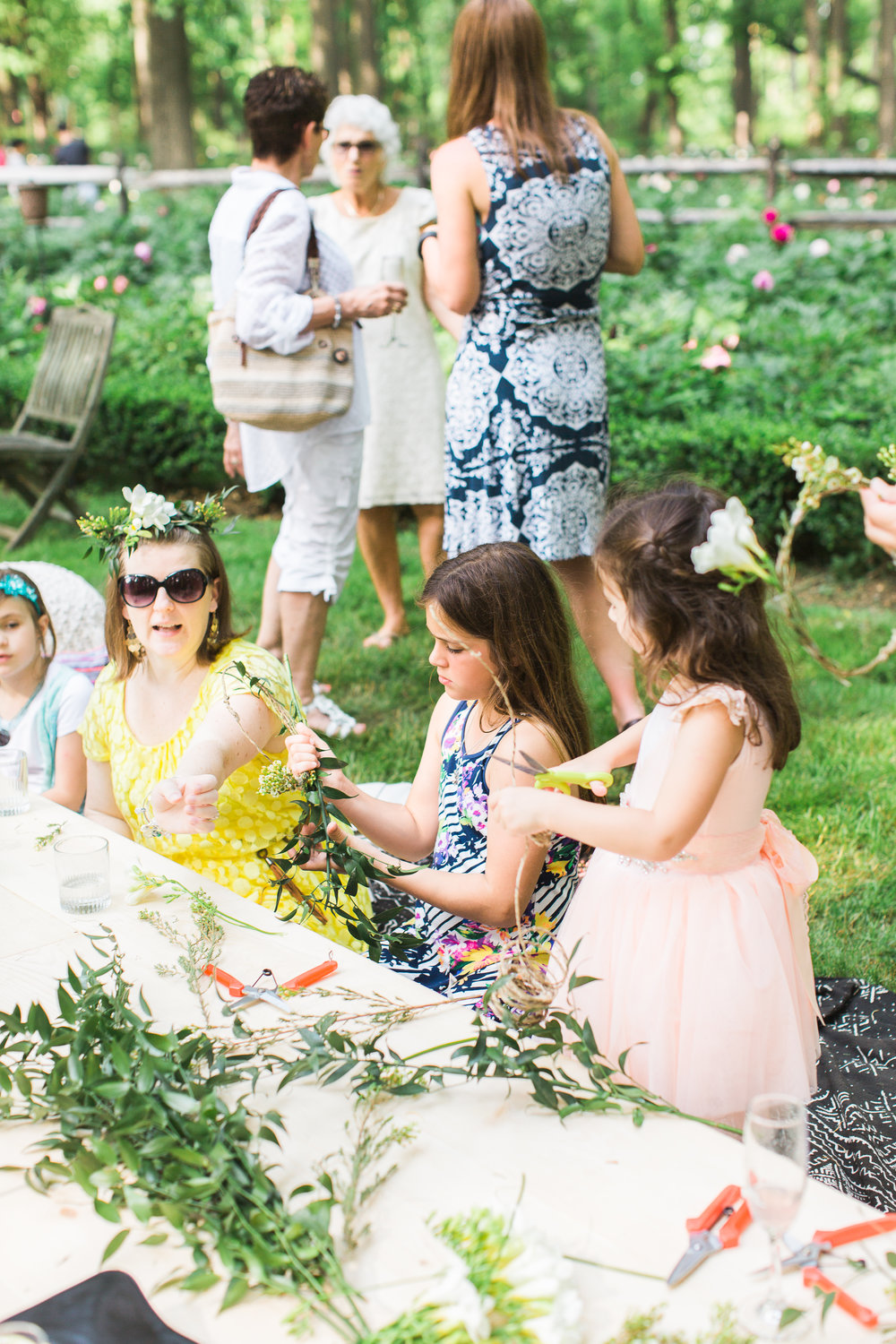 Chelo Keys Wedding Photography New Jersey girls making crowns