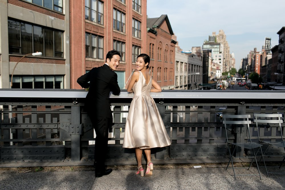 Leonard + Michelle Wedding portrait on the High Line by Brookelyn Photography