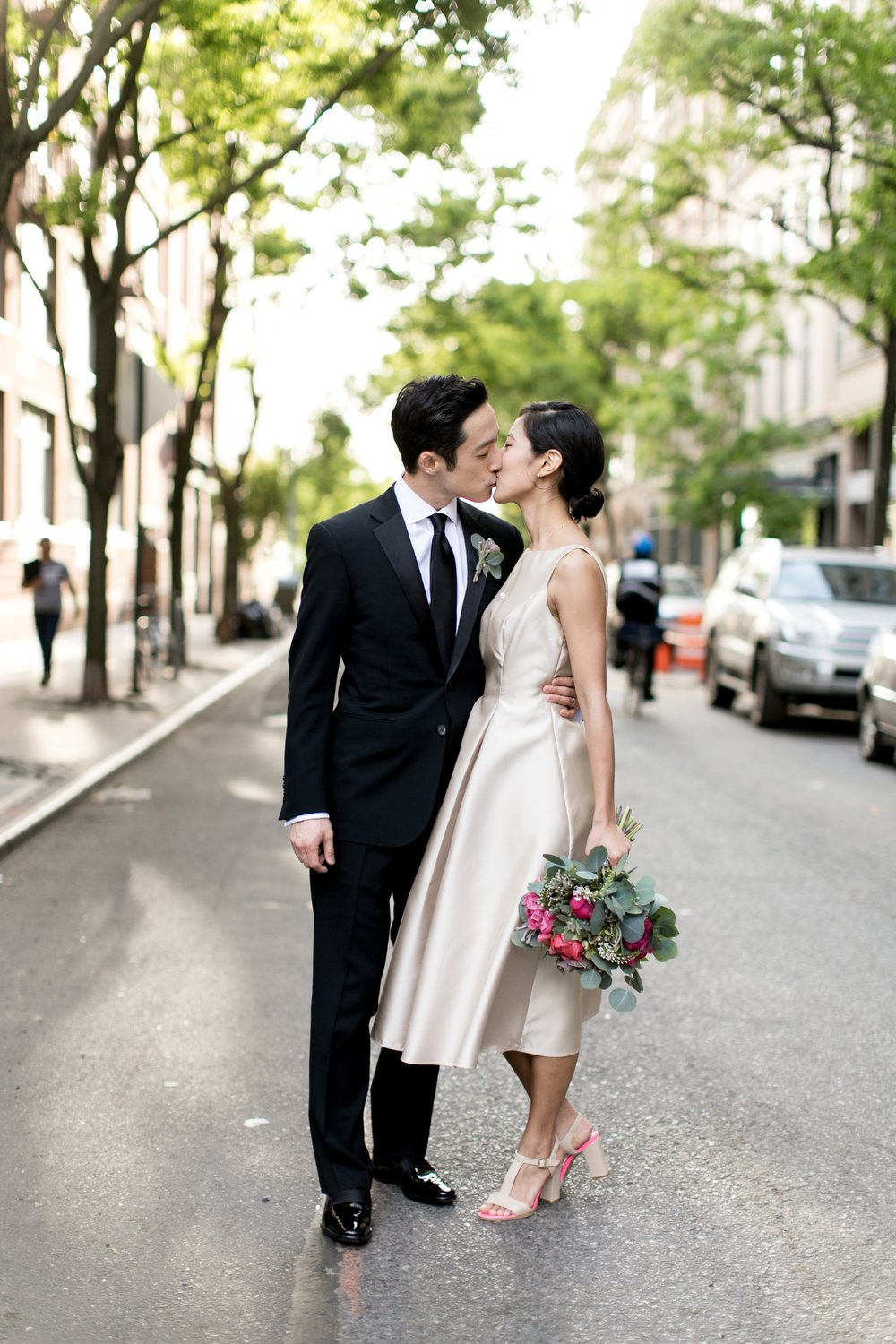 Leonard + Michelle Wedding kissing in West Village by Brookelyn Photography
