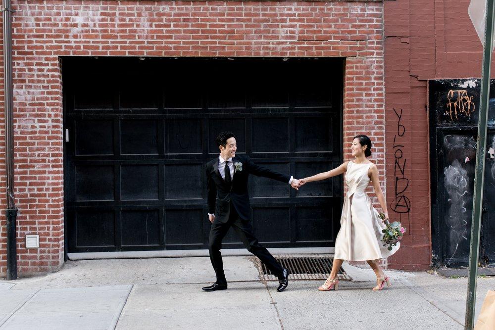 Leonard + Michelle Wedding walking in West Village by Brookelyn Photography