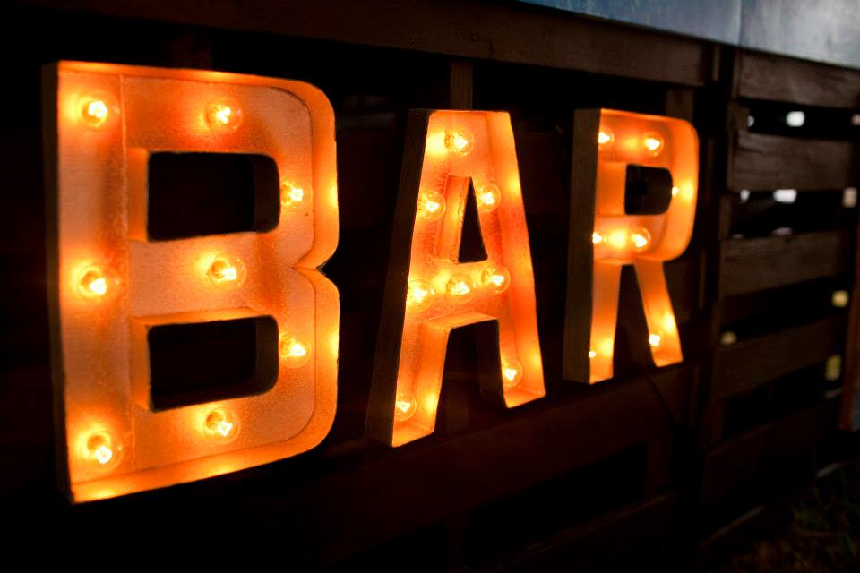 "Freebird Imagery letter lights that read ""bar"""
