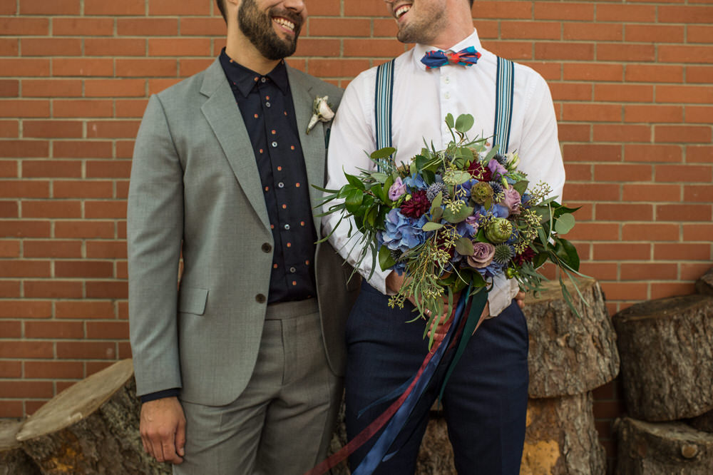 Buffy Goodman Wedding Photography grooms with bouquet of flowers