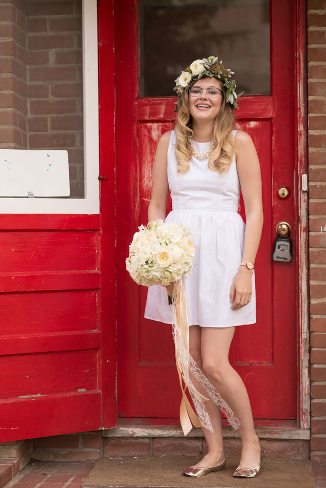 Buffy Goodman Wedding Photography bride with bouquet and matching flower crown