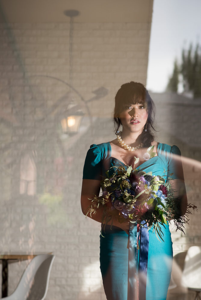 Buffy Goodman Wedding Photography bride in non-traditional dress with bouquet