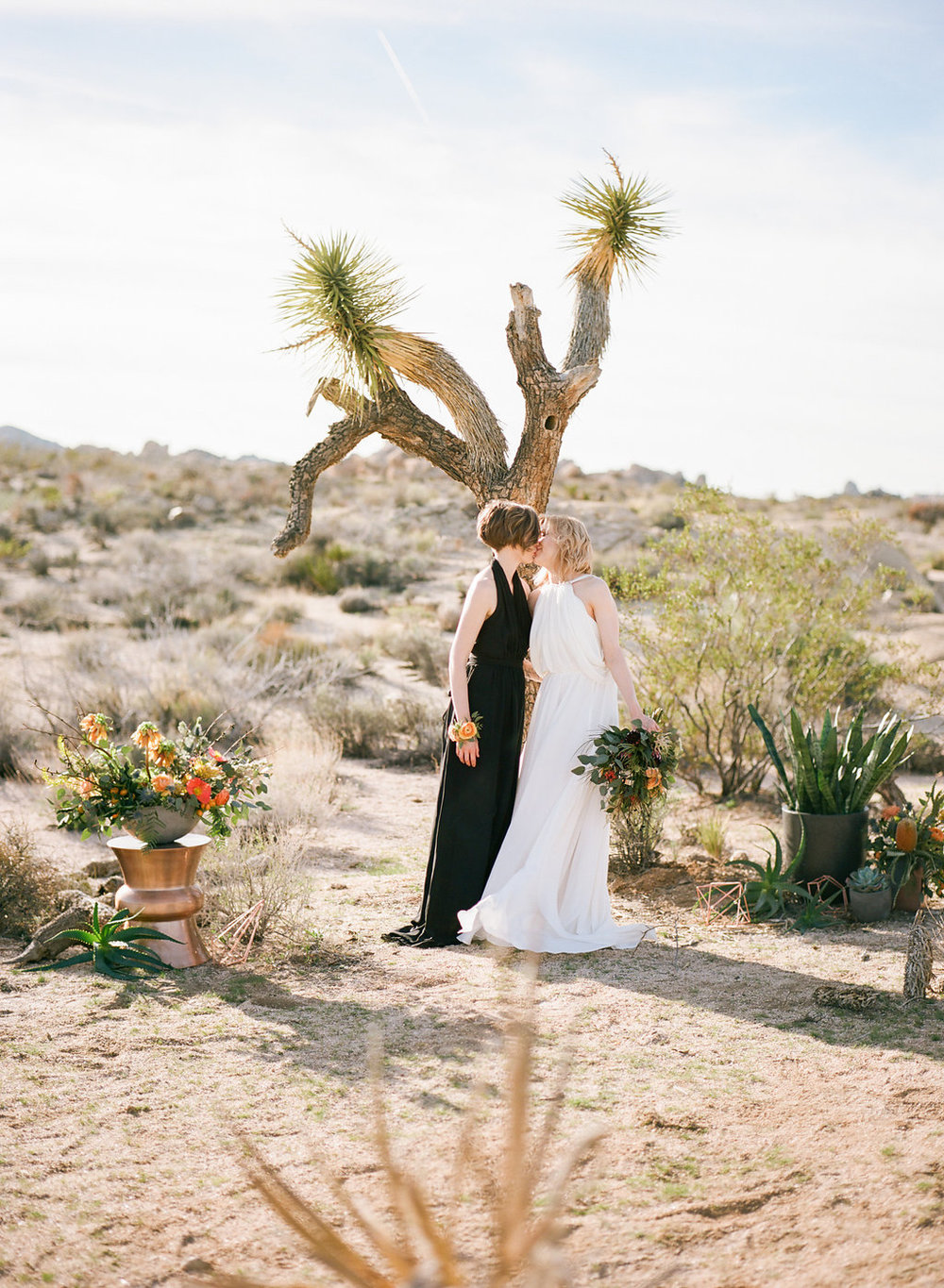Jessica Schilling Wedding Photography kiss in front of joshua tree