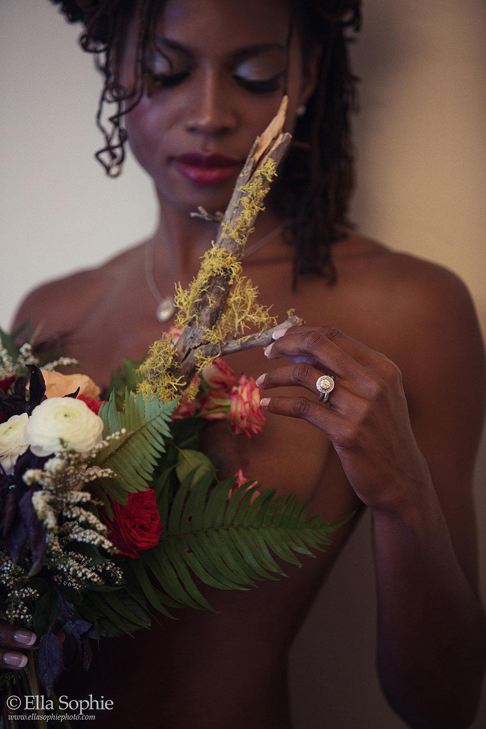 Model admiring flowers