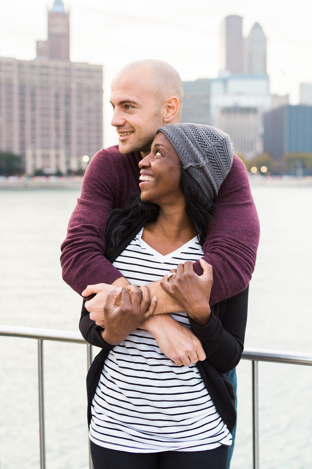Ivan and Fara wedding engagement proposal at Chicago Olive park by Jennifer Claire Photography