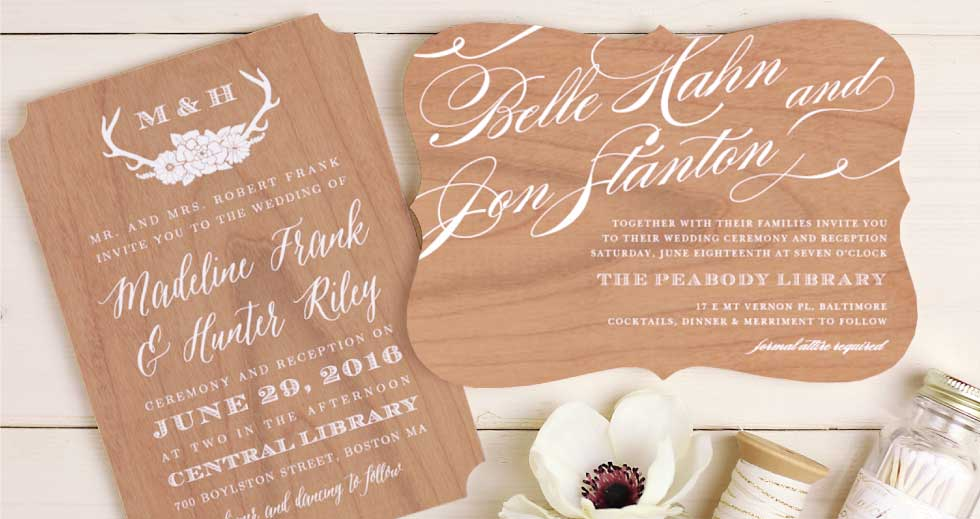 Basic Invite Custom Wood Wedding Invitations and Save the Date