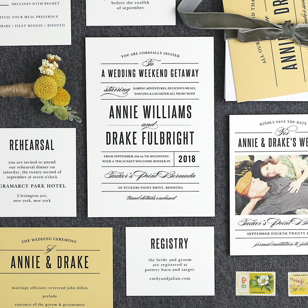 Basic Invite Custom Wedding Invitations, Thank Yous, Registry Cards, and Save the Dates
