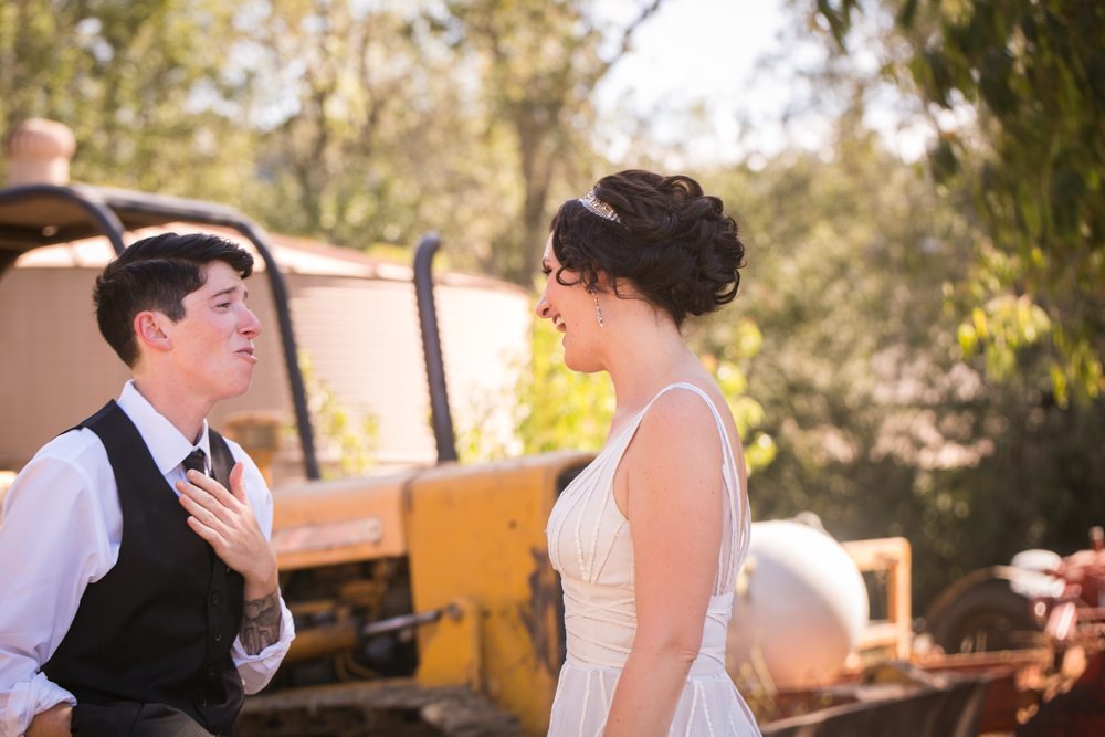 Lesbian Vineyard Wedding First Look