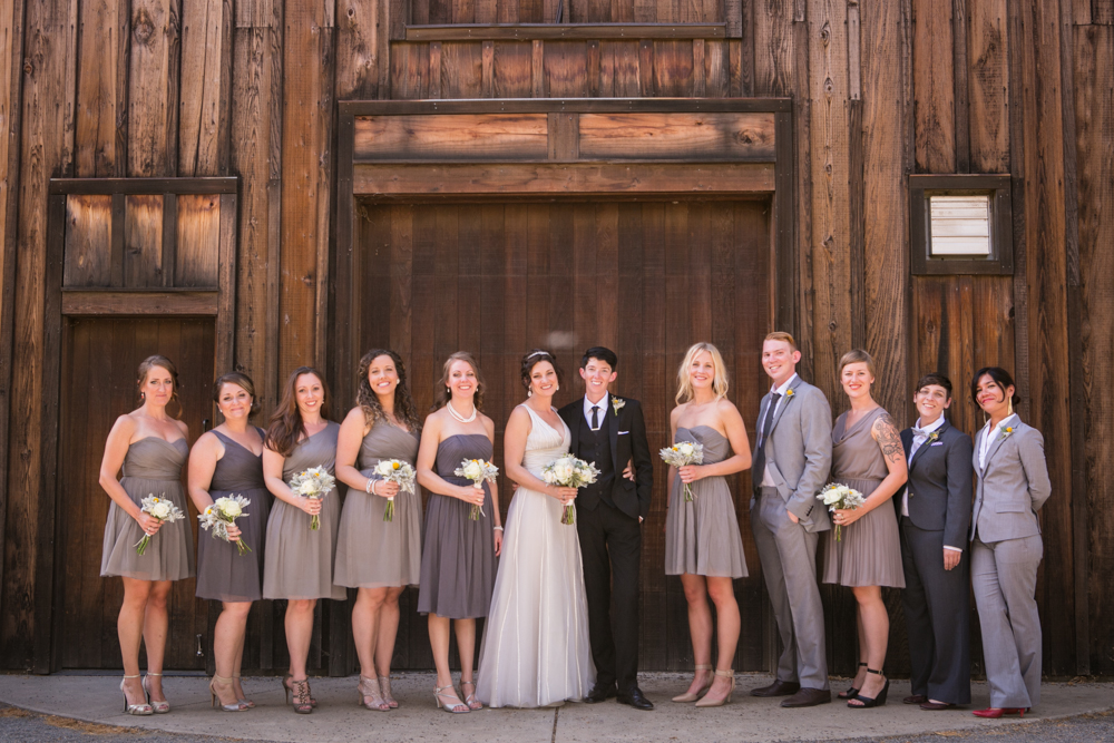 Lesbian Vineyard Wedding Bridal Party