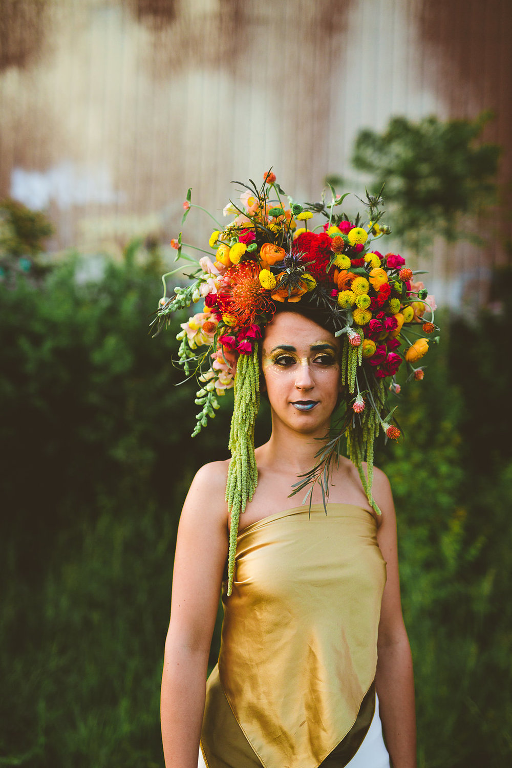 Columbus Ohio Wedding Inspiration Gold Paint Flower Crown Rachel Joy Barehl
