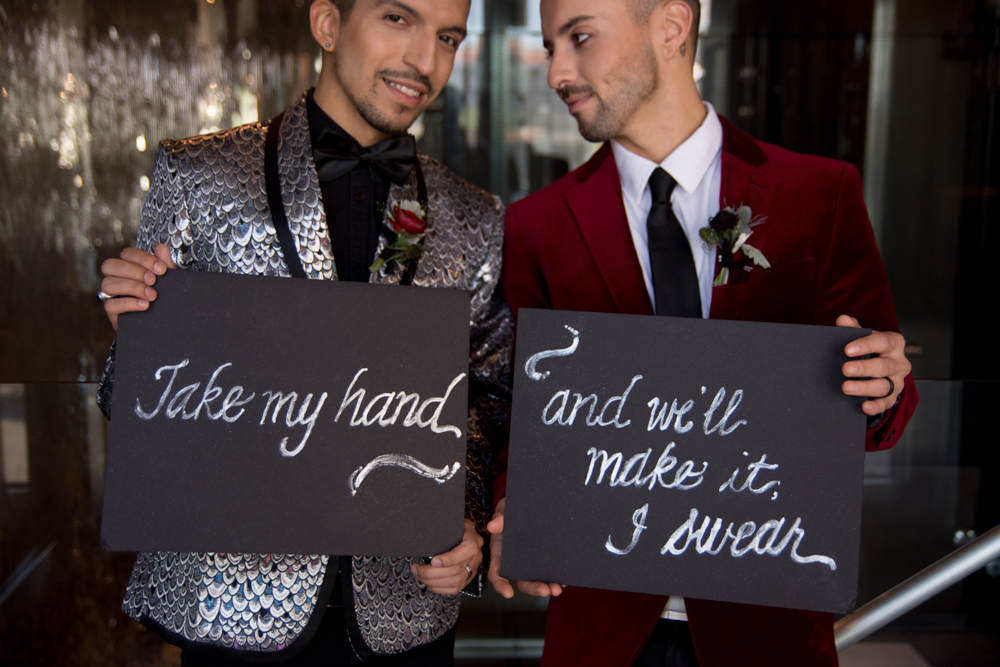 Glam Rock Wedding Inspiration Styled Shoot in the style of David Bowie and Billy Idol in Los Angeles California