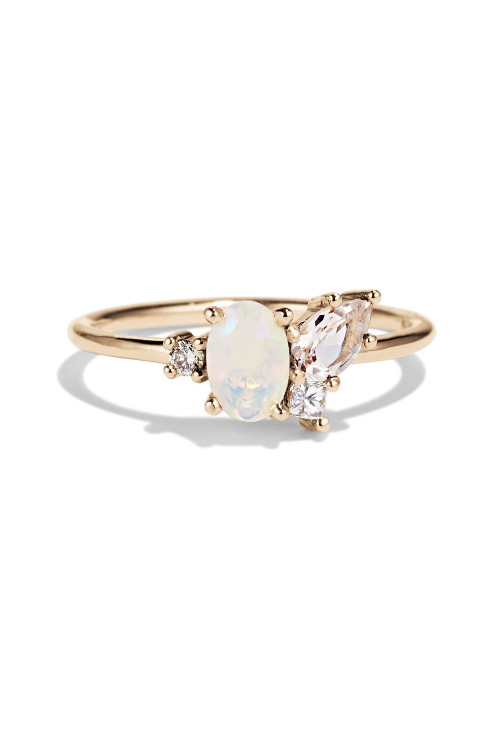 Bario Neal Opal and Morganite Cluster Ring