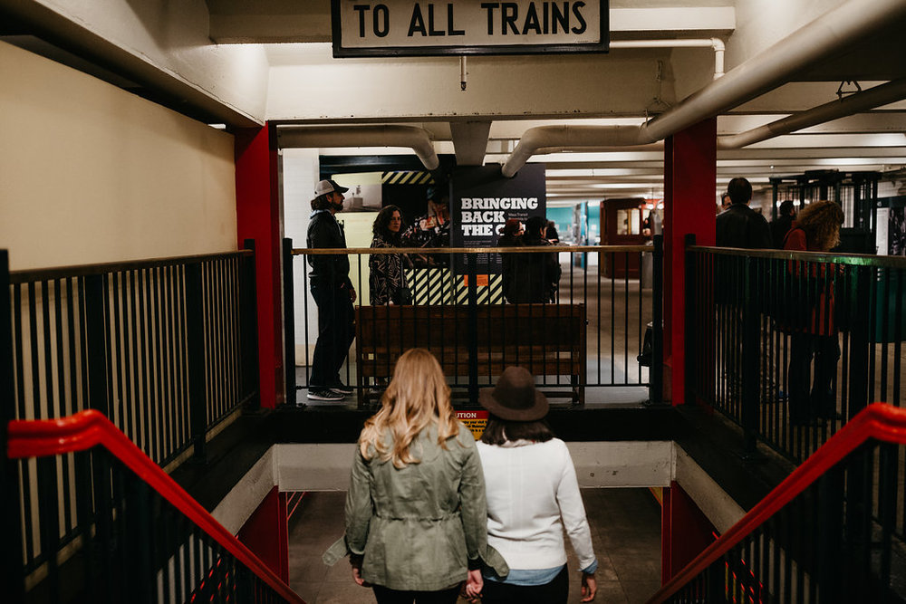 Leah and Rachel's New York City wedding engagement session at the New York Transit Museum by Wilde Scout Photo Co.