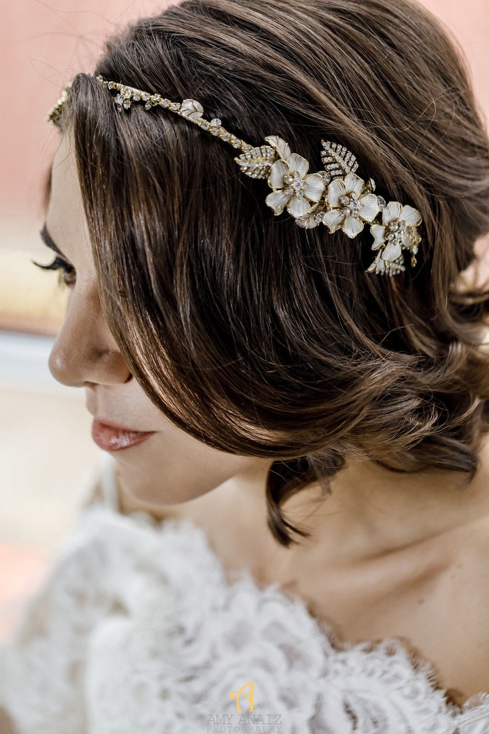 Happily Ever Borrowed Amy Anaiz Asymmetrical Floral and Crystal Swag Headpiece