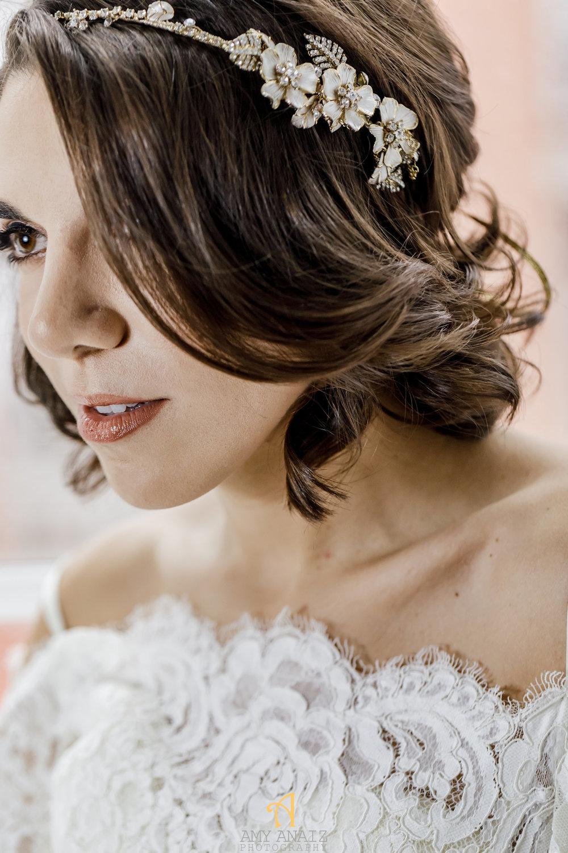 Happily Ever Borrowed Amy Anaiz Asymmetrical Floral and Crystal Swag Headpiece
