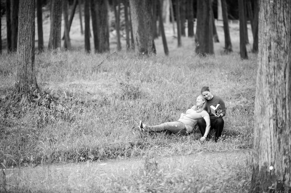 Lesbian maternity photos in the woods of SF