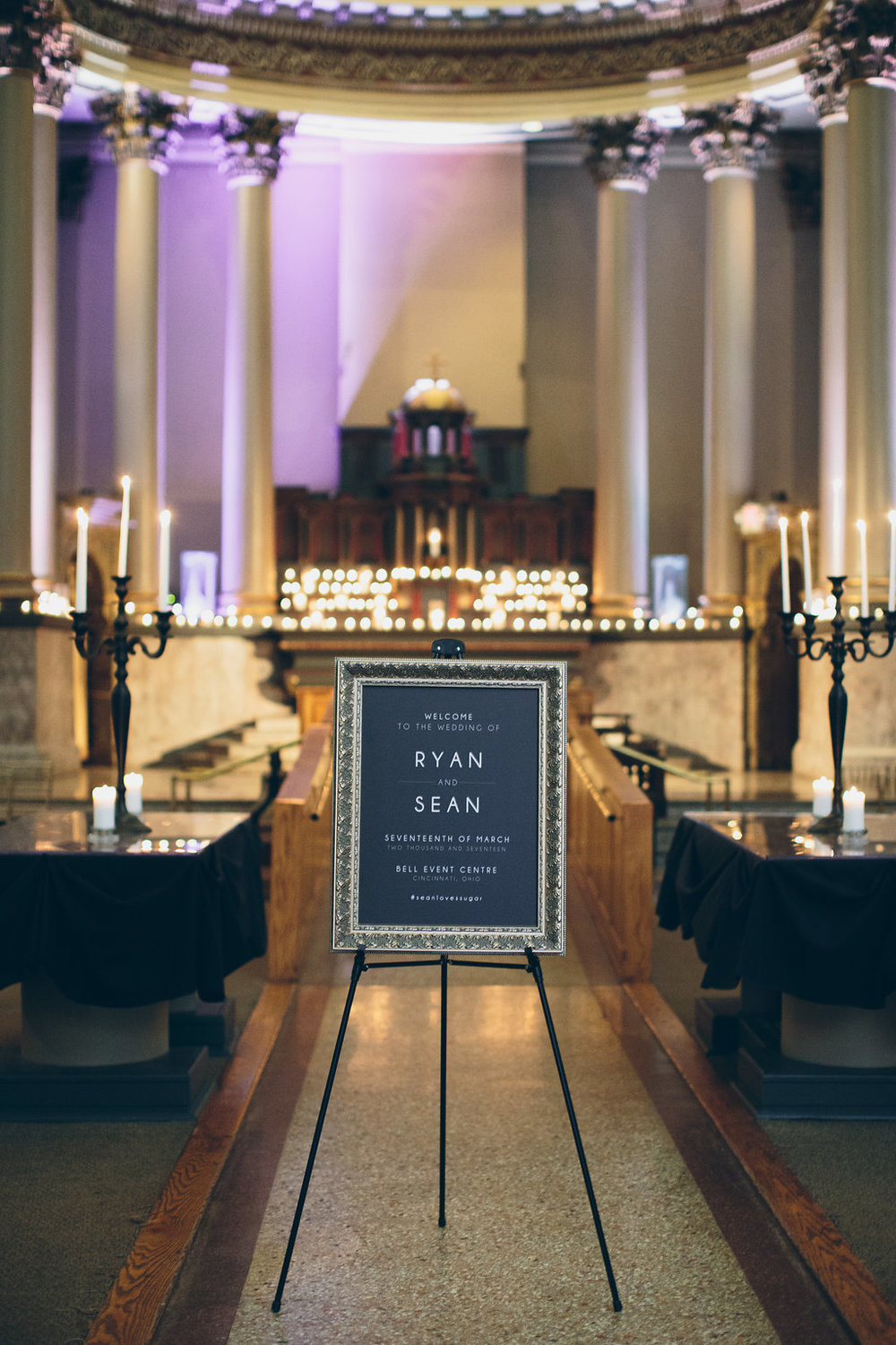 Elegant signage greets guests at a Black tie wedding in Ohio.