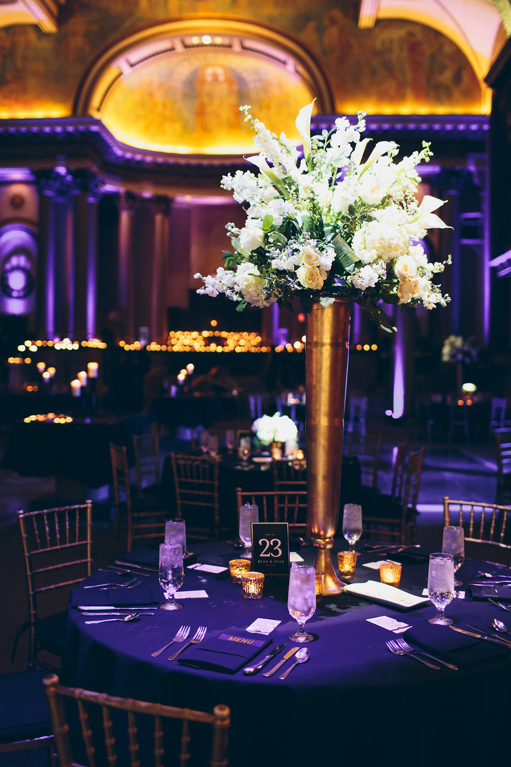 Glam floral displays at the reception.