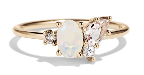 Opal and Morganite Cluster Ring by Bario Neal