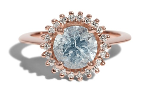 Aquamarine Halo Ring by Bario Neal