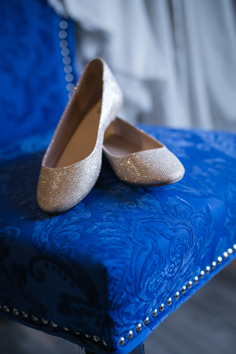sparkly flat wedding shoes in ivory