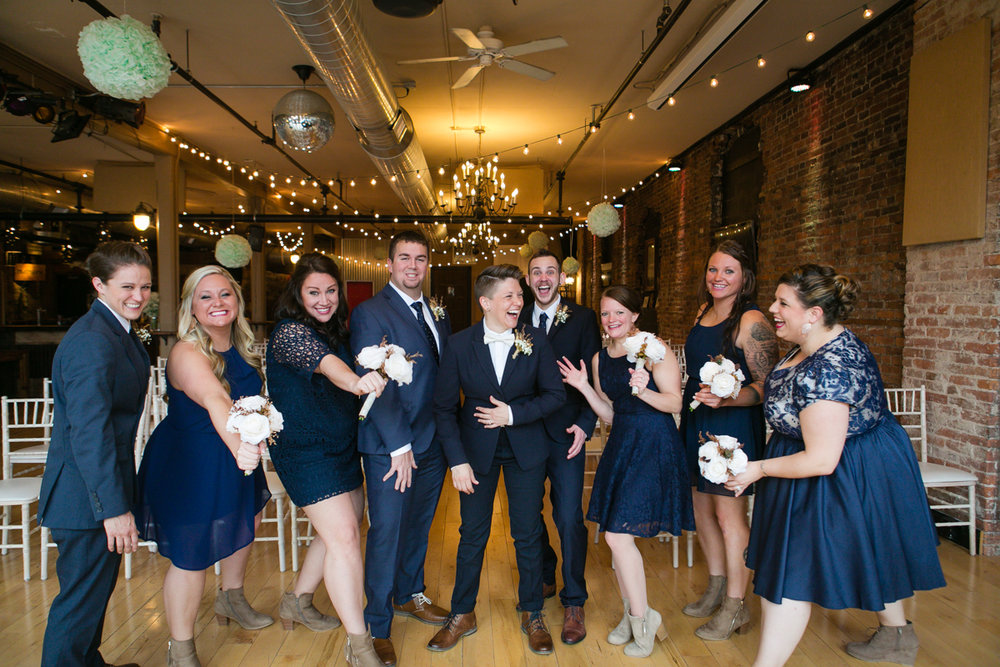 mixed gender bridal party in navy