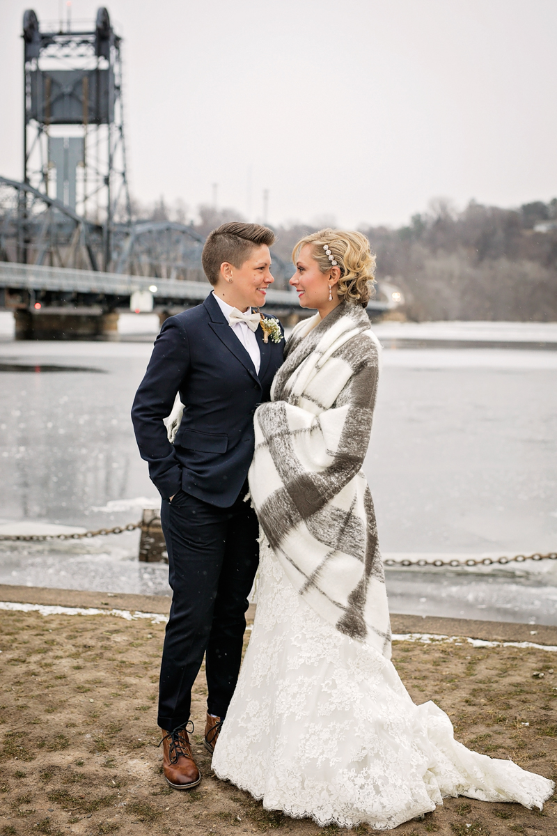 winter wedding portraits in stillwater, mn