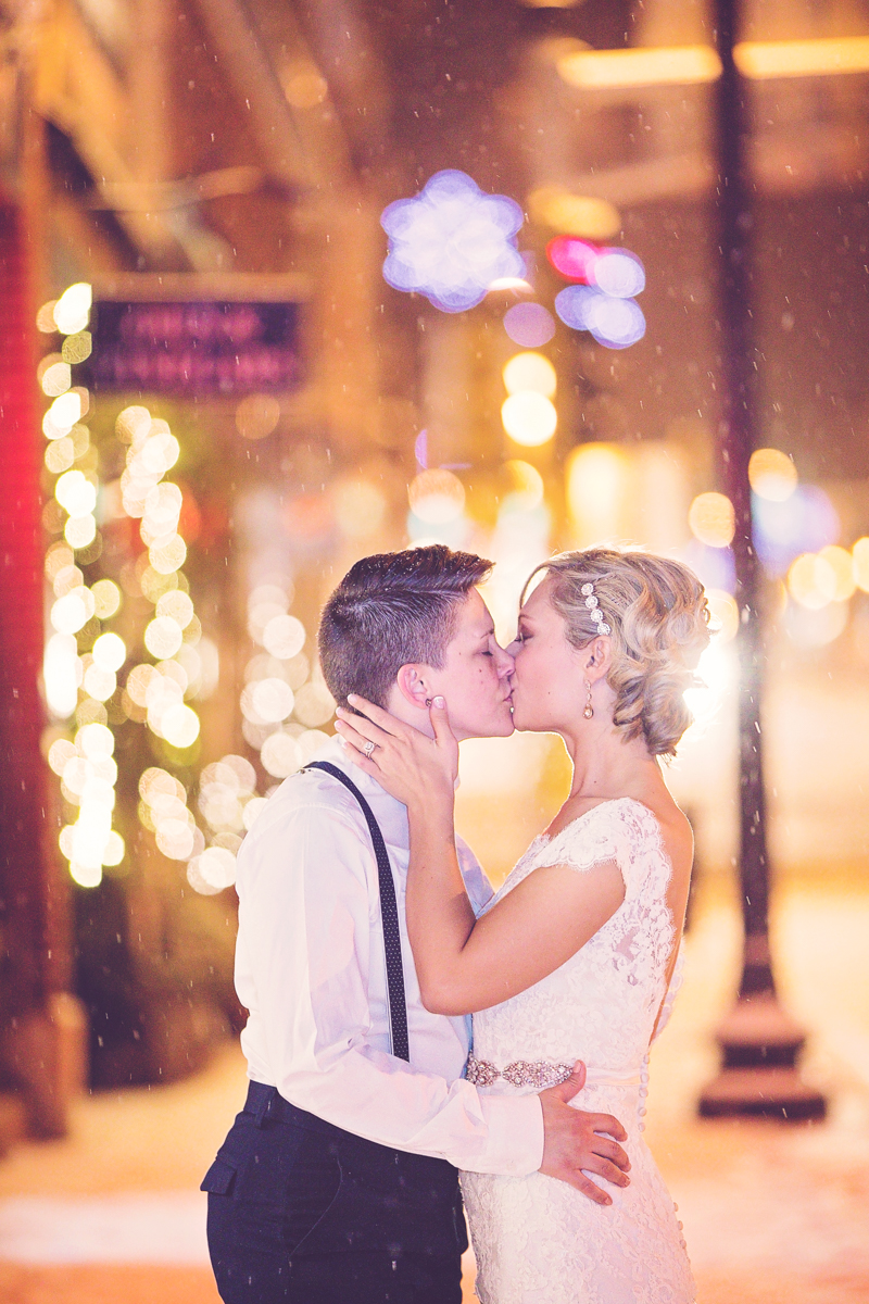 romantic same-sex wedding photos in the snow