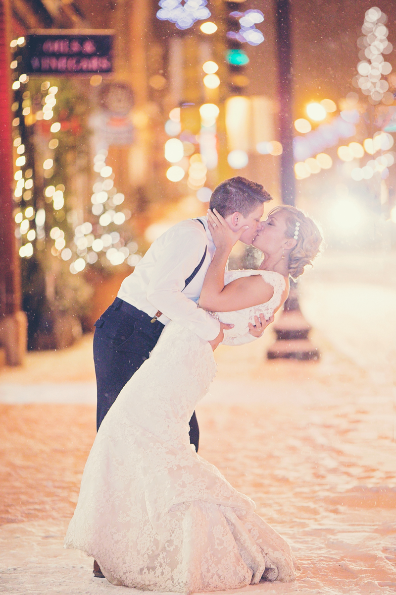 same-sex wedding photos in the snowfall