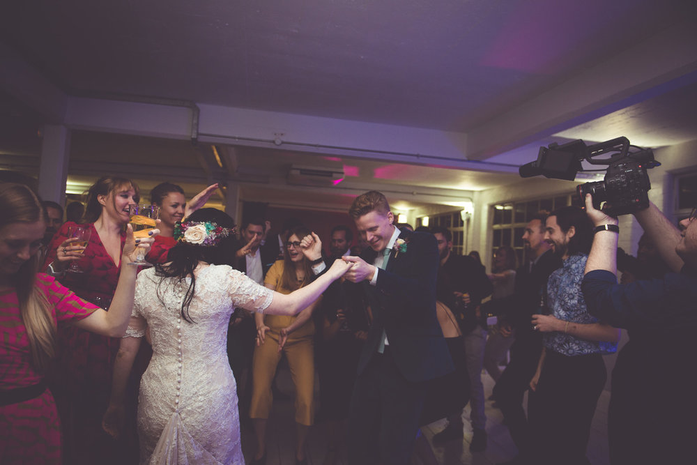 Wedding reception at JJ Studios in Shoreditch. Photo by  Amy and Omid Photography .