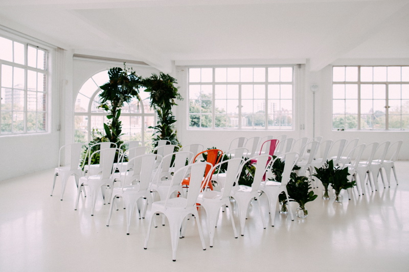 Ceremony space at JJ Studios. Photo by Rebecca Goddard Photography.