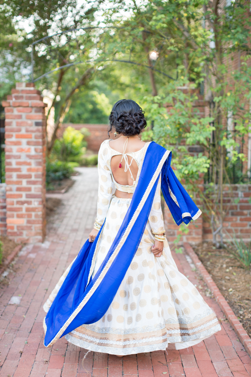 blue and gold indian wedding gown