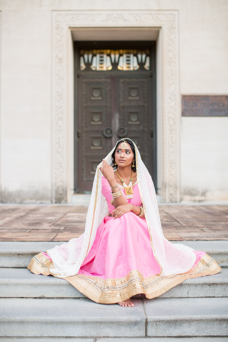 pink and gold wedding gown with white veil