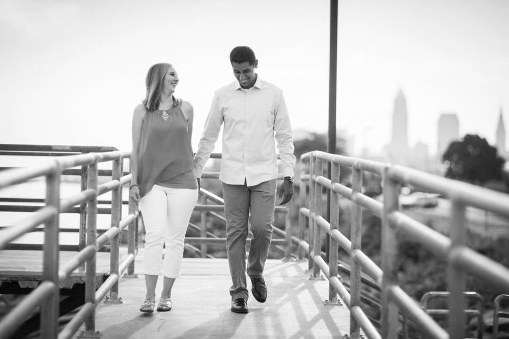 Classic black and white engagement photos in Ohio