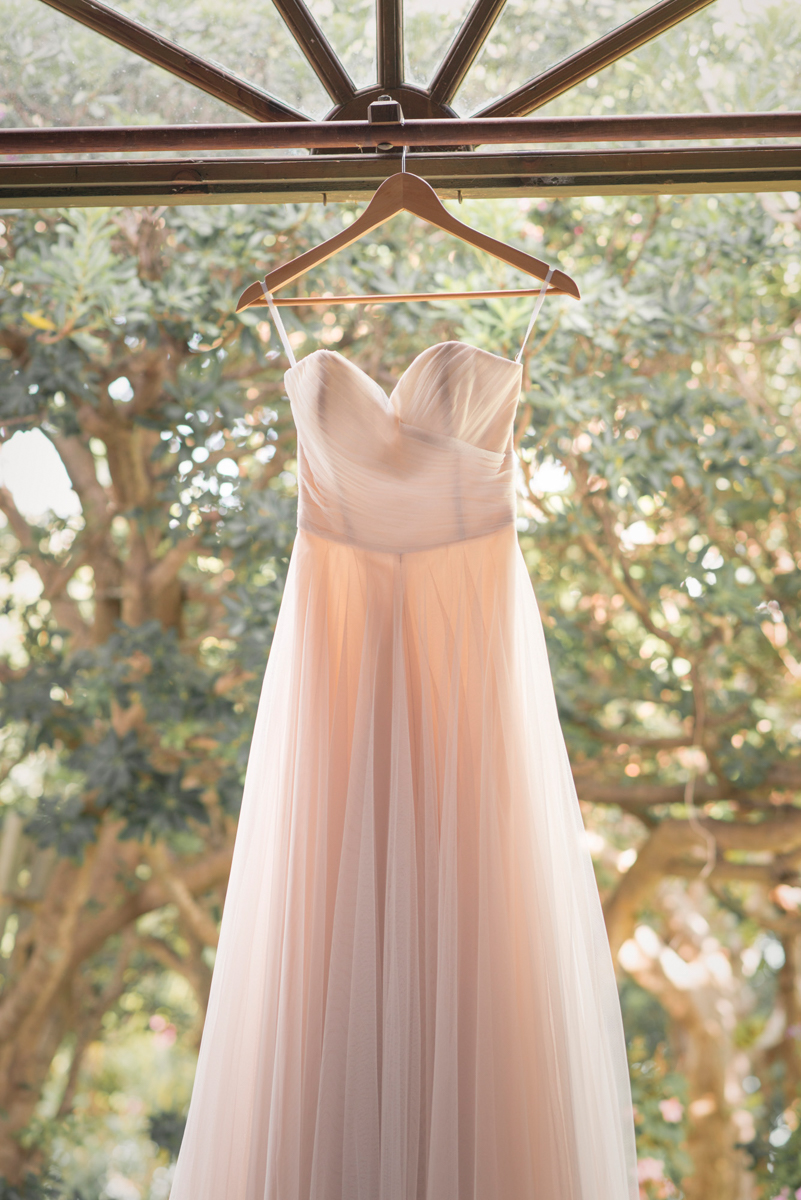 blush pink BHLDN gown in the sunlight