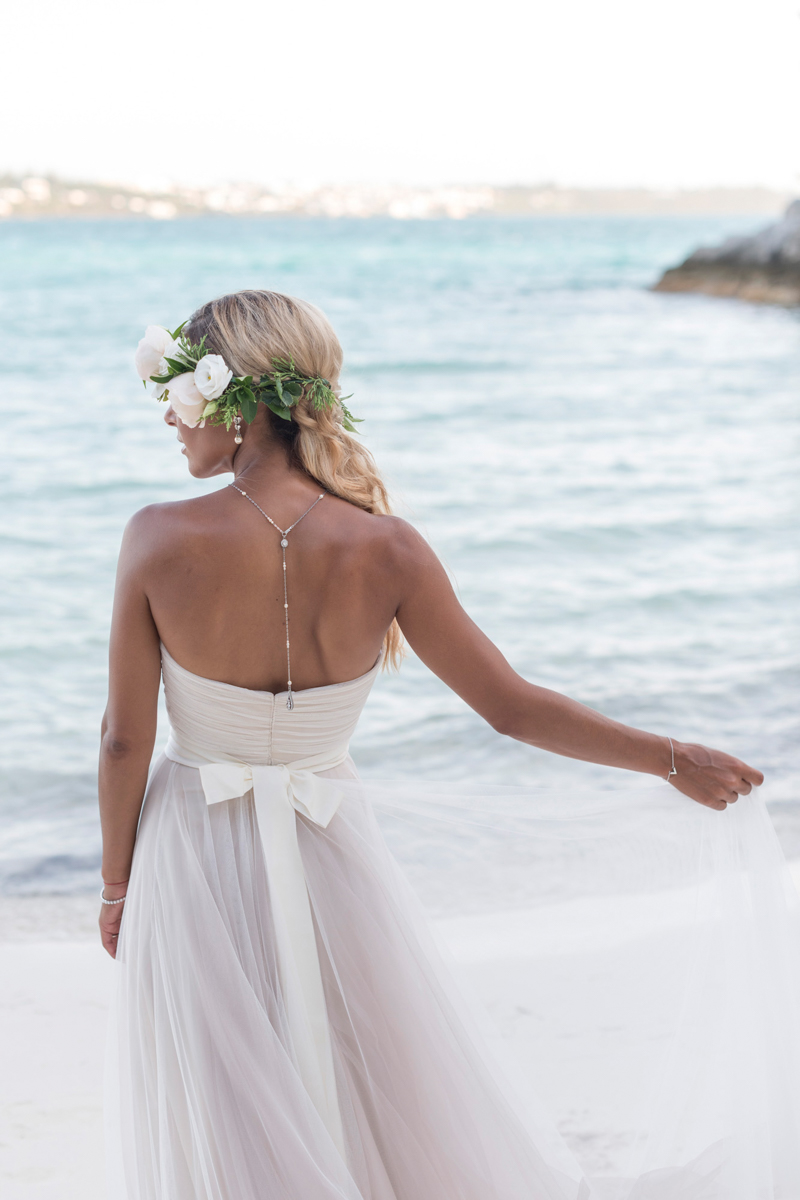 Bermuda bride in blush pink BHLDN gown