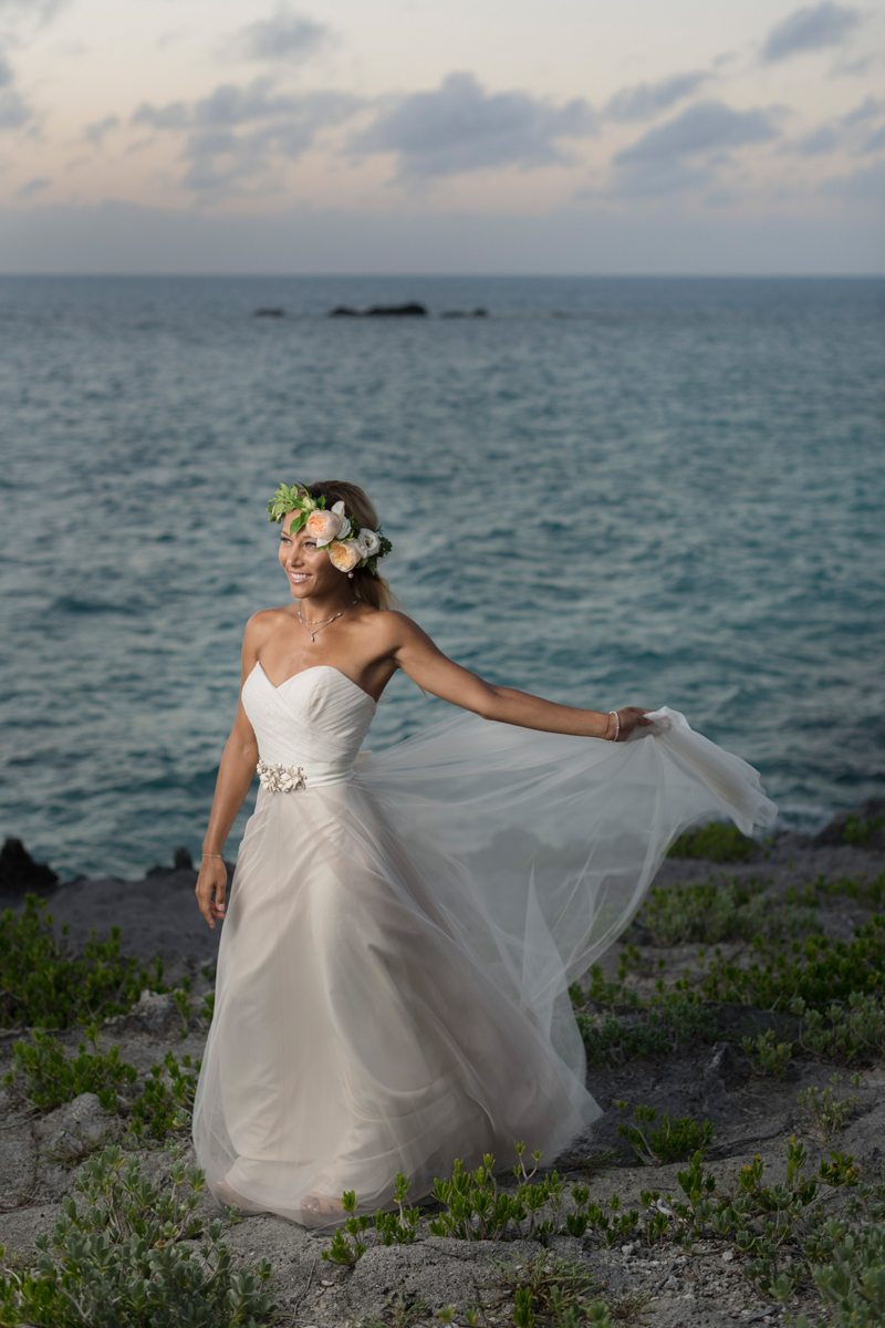 Tropical bride at sunset
