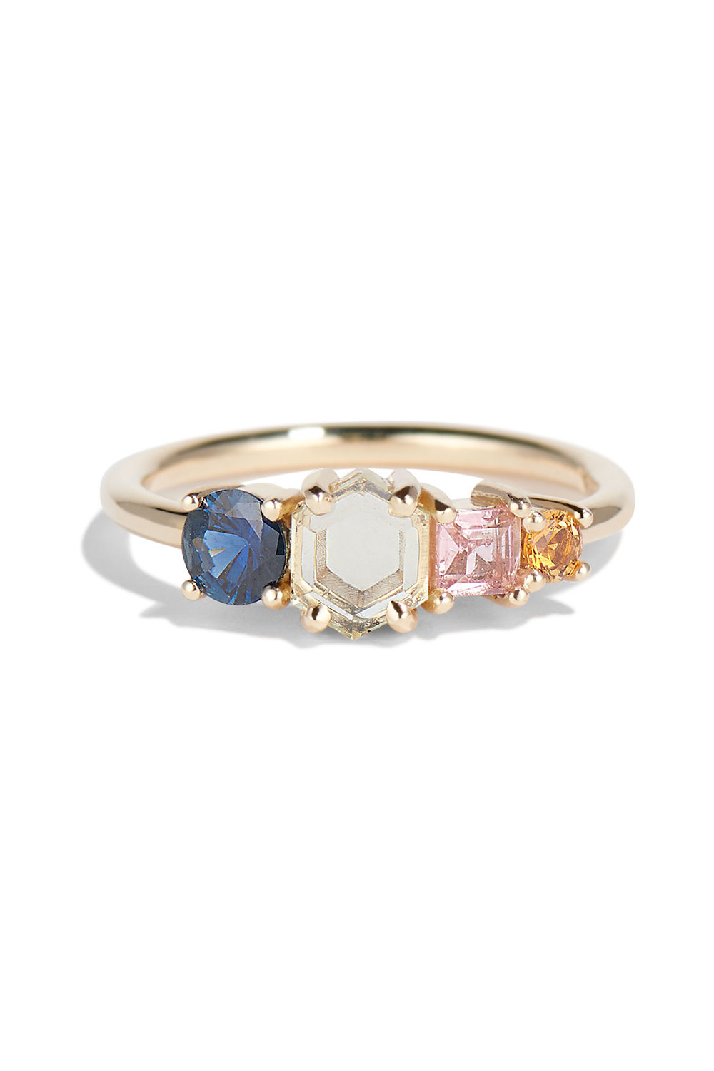 Hex Sapphire Linear Ring
