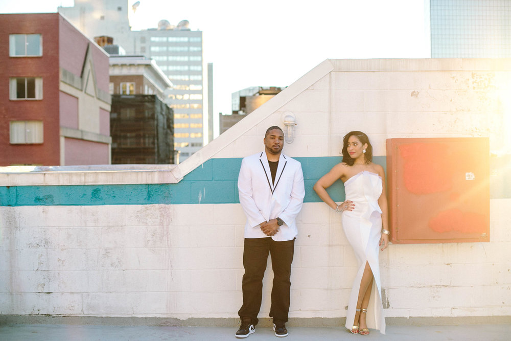 Black bride and groom in hip city setting ATL