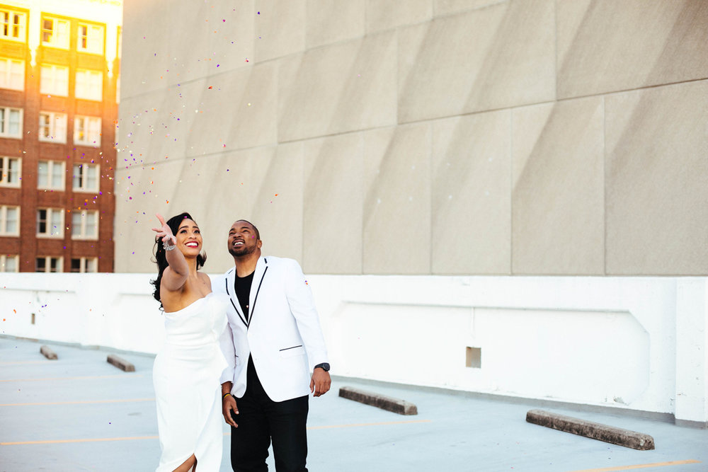 ATL wedding photography with confetti