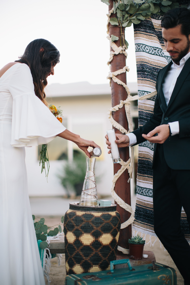 Sand ceremony at wedding