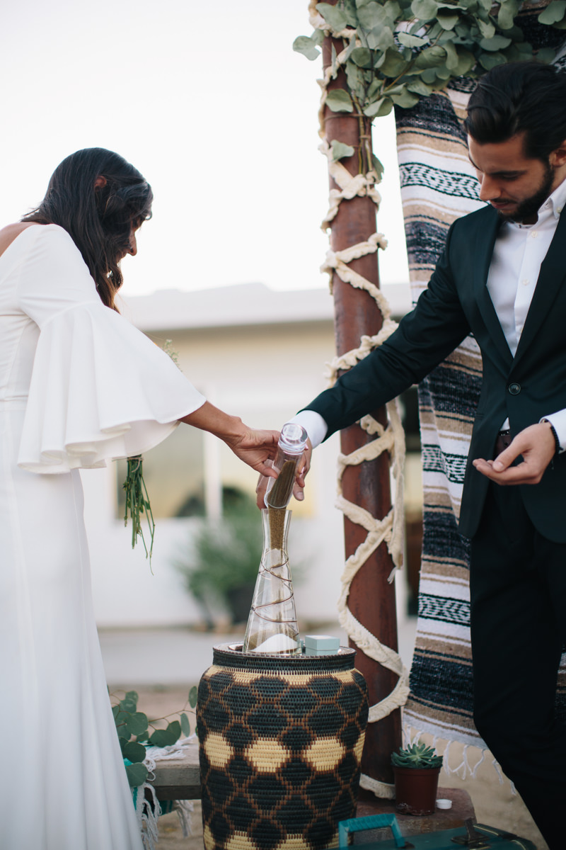 desert wedding sand ceremony