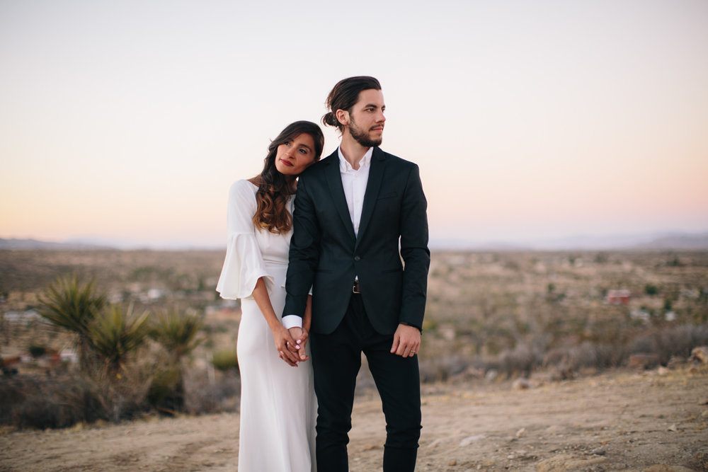 Bride and groom at a desert wedding in California