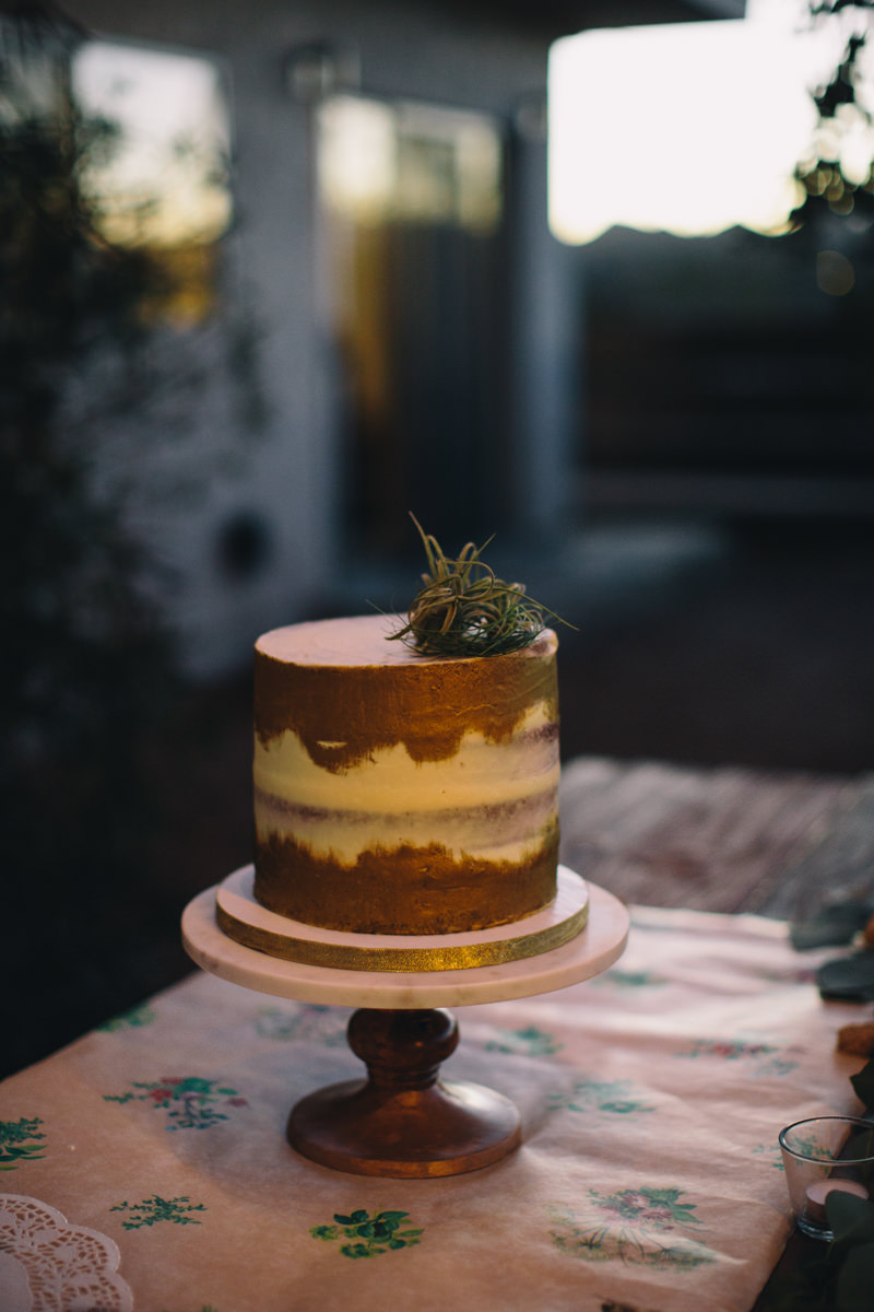 small wedding cake from Half Baked Co. in California