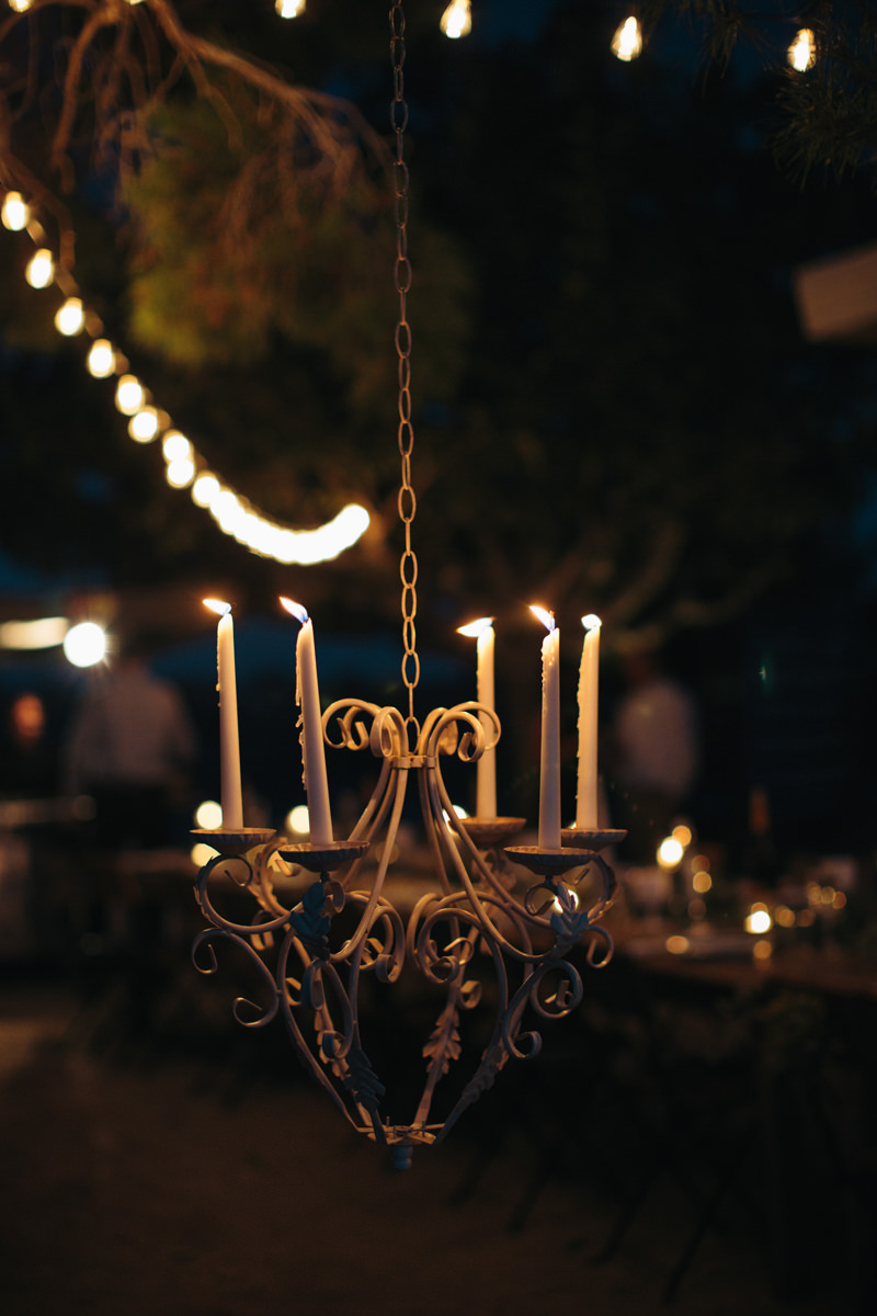 tapers and outdoor chandelier
