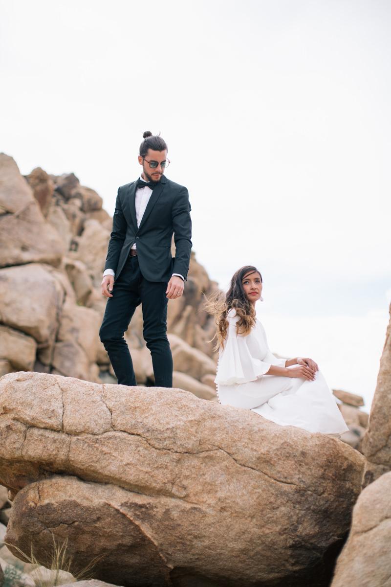 Joshua Tree wedding photos on rocks