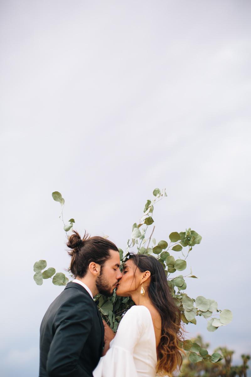 desert wedding with eucalyptus bouquet